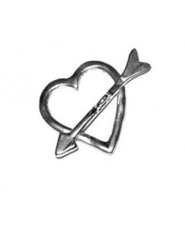 Cierre palo corazón paso 3mm, zamak baño en plata
