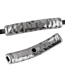 Tubo plano curvo 39x7x4,5mm paso 3x2mm, zamak baño de plata
