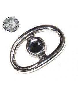 Adorno pulsera zamak baño de plata y SWAROVSKI 42x28mm color crystal grey