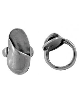 Anillo ajustable oval para resina 34x16mm, peltre baño de plata