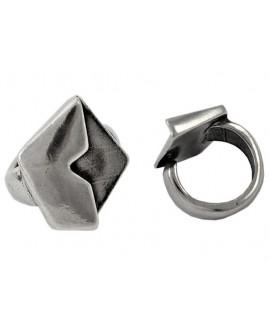 Anillo ajustable para resina 26x22mm, peltre baño de plata