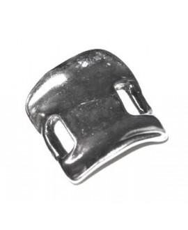 Pulsera tres  pieza 35x30mm paso 10mm, zamak baño de plata (precio por tres piezas)