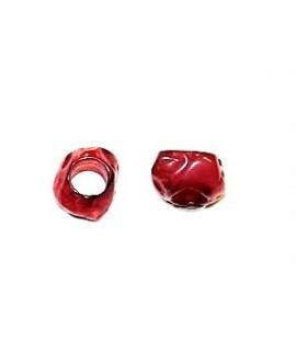 Cuenta resina irregular efecto aguas blancas, 12x8mm paso 5mm, rojo cereza