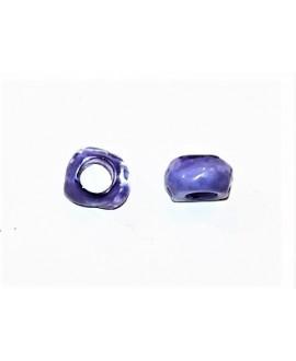 Cuenta resina irregular efecto aguas blancas, 12x8mm paso 5mm, lila