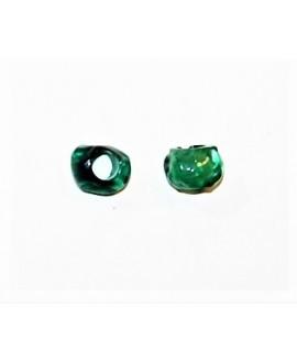 Cuenta resina irregular efecto aguas blancas, 12x8mm paso 5mm, verde oscuro
