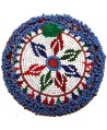 Medallón  kuchi de cuentas y pom-pom, 12,5cm