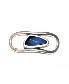 Entrepieza para  pulsera 22,7x54,7mm, Zamak baño de plata/resina  color azul