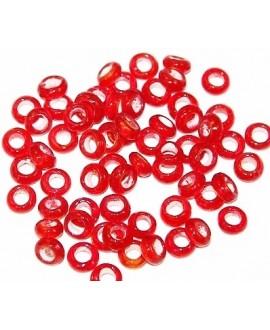 Rondel cristal indio rojo claro 5/6x2,5/3mm paso 3mm, precio por 25 unidades