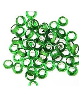 Rondel cristal indio verde claro 5/6x2,5/3mm paso 3mm, precio por 25 unidades