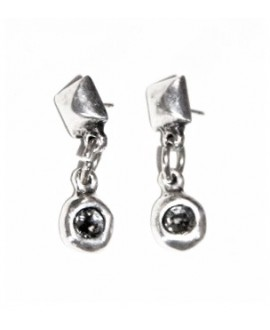 Pendientes punto y aparte, swarovki color black diamond