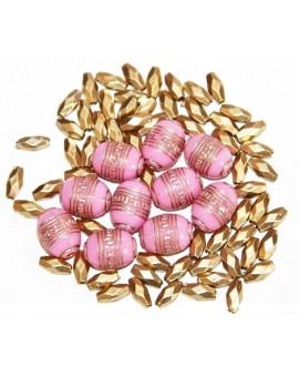 Mix cuentas acrílicas rosa 12x10mm, paso 1mm, precio por 6 unidades
