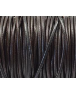 Cuero redondo 3mm, marrón oscuro. Calidad superior, precio por metro