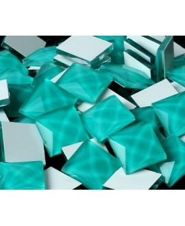 Cabujón cristal cuadrado fondo plano 12x12mm turquesa