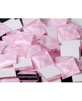 Cabujón cristal cuadrado fondo plano 8x8mm rosa claro