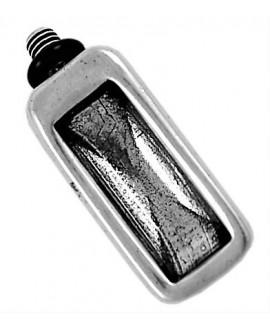 Adorno pulsera rectangular 34x15mm para cristal 21x7mm, zamak baño de plata