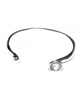 Pulsera para  cristal o media perla o resina de 8mm, zamak baño de plata