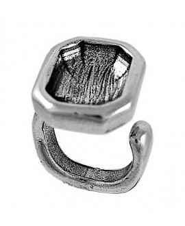Anillo ajustable octagonal para cristal de 21x7mm, peltre BAÑO DE PLATA