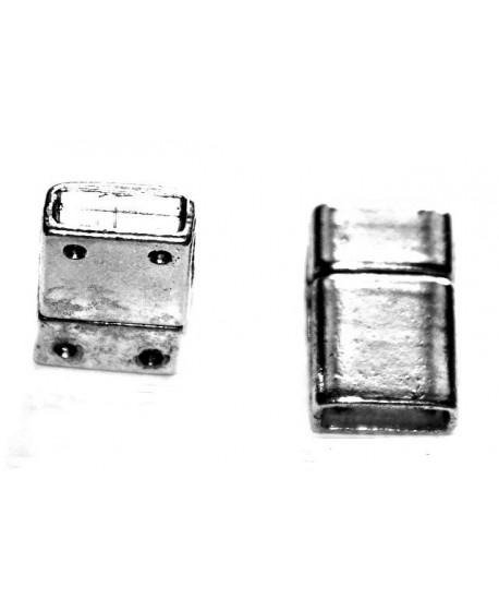 Cierre imán 16x24mm, paso 4x13mm, plata antigua