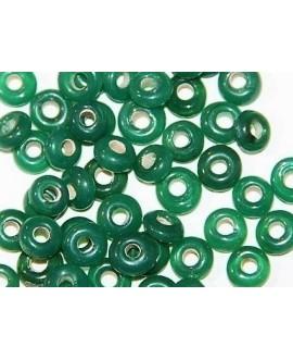 Rondel cristal indio verde agua 7x4mm paso 2mm, precio por 50 unidades
