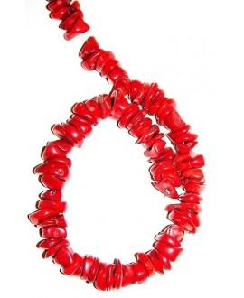 Coral rojo moneda 12/15x2/3mm paso 1mm, precio por ristra