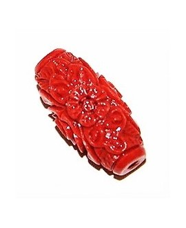 Cuenta resina coral 25x12mm, paso 2mm