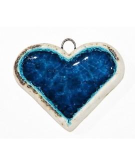 Colgante de Cerámica Esmaltada Corazón azul 49x40mm