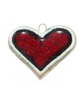 Colgante de Cerámica Esmaltada Corazón rojo 49x40mm