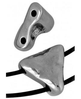 Entrepieza Triángulo 21x21,5mm paso.2,5mm, Zamak baño de plata