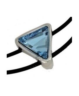 Entrepieza Zamak baño de plata/SWAROVSKI aquamarine 20x20mm  paso 2mm