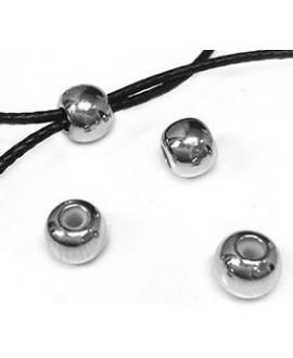 Cierre bola de Latón baño de plata 5mm con paso para 2 Cordones de 1mm