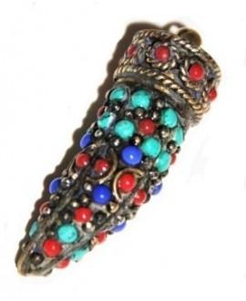 Colgante cuerno, amuleto tibetano Nepal, 39/40mm