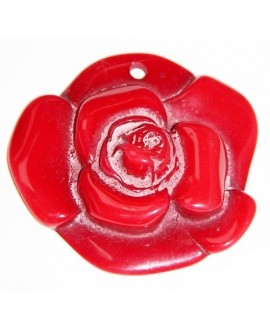 Colgante resina rosa roja 72mm paso 4mm