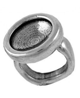 Anillo ajustable redondo para cristal de 16mm, zamak baño de plata