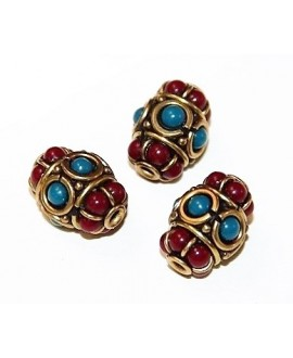 Cuenta  Tibetana bronce, turquesa y coral  15x10mm paso 2mm