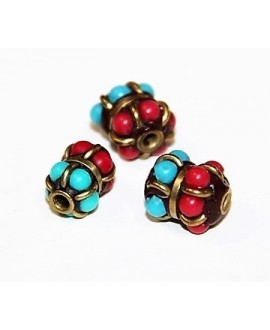 Cuenta  Tibetana bronce, turquesa y coral  10x8mm paso 2mm