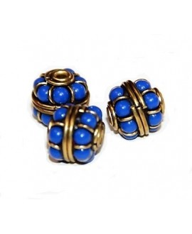Cuenta  Tibetana bronce y piedra azul  10mm paso 2mm
