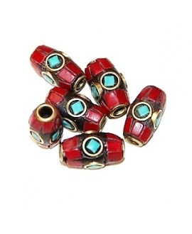 Cuenta  Tibetana bronce coral y turquesa 10x6mm paso 2mm