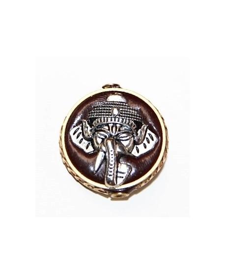 Cuenta  Tibetana bronce, metal 30x30x7mm paso 2mm
