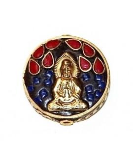 Cuenta  Tibetana bronce, lapislázuli y coral  30x30x7mm paso 2mm