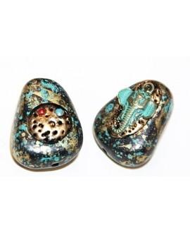 Cuenta  Tibetana de resina y bronce  30x20x13mm paso 2mm