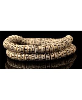 Cuenta de hueso de yak, tallada a mano (Sol, estrella, cruz y Totem), 8x3mm 108 Cuentas