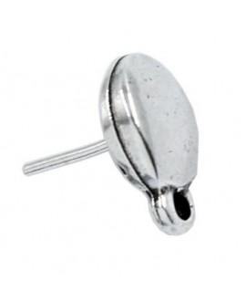 Pendientes gota 15x10mm paso 2mm, zamak baño de plata, precio por par