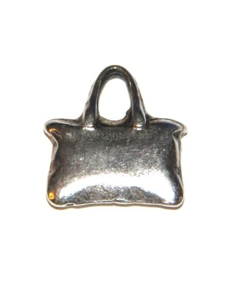 Colgante bolso 24x19mm, zamak baño de plata