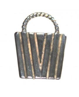 Colgante bolso 33x25mm, zamak baño de plata