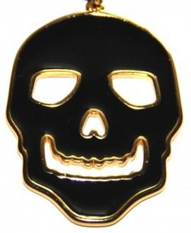 Colgante calavera esmalte negro zamak baño oro 46x63