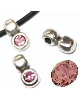 Colgante irregular 13x7mm paso 3mm de zamak baño de plata y SWAROVSKI  color light rose