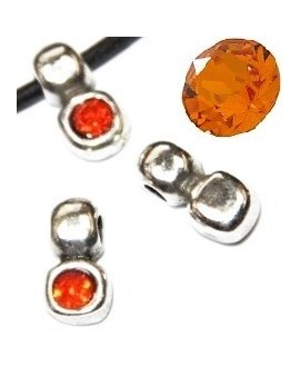 Colgante irregular 13x7mm paso 3mm de zamak baño de plata y SWAROVSKI  color orange