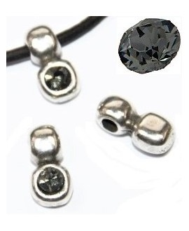 Colgante irregular 13x7mm paso 3mm de zamak baño de plata y SWAROVSKI  color BLACK DIAMOND