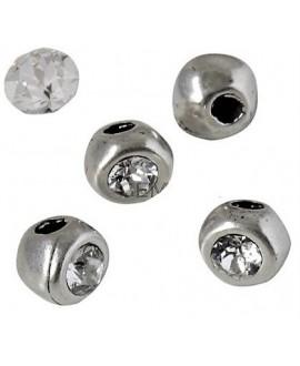 Cuenta irregular 7x7x6mm paso 2mm de zamak baño de plata y SWAROVSKI  color crystal