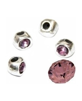 Cuenta irregular 7x7x6mm paso 2mm de zamak baño de plata y SWAROVSKI, color antique rose